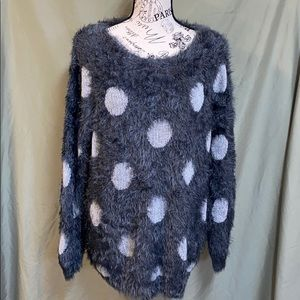 Joseph A. Cozy polka dot gray sweater women's XL